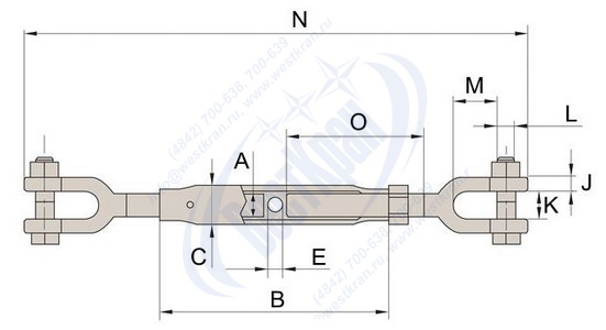 Талреп с закрытым корпусом вилка-вилка чертеж