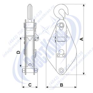 Закрытый однорольный монтажный блок с откидной щекой Гп-Б...-01(01) чертеж