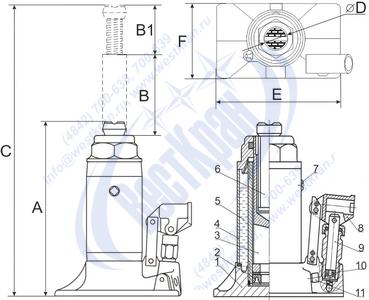 Домкрат гидравлический ДГ-5 чертеж