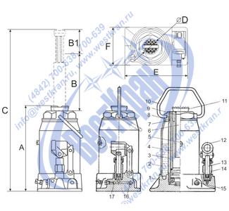 Домкрат гидравлический ДГ-12 чертеж