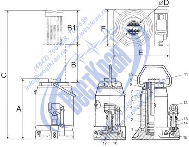 Домкрат гидравлический ДГ-25 чертеж