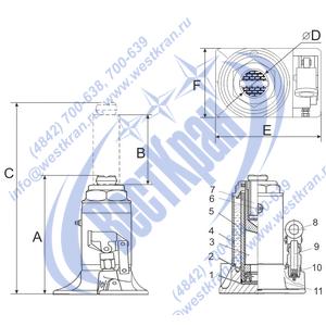 Домкрат гидравлический HJ-B20 чертеж