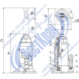 Домкрат гидравлический HJ-B5 чертеж