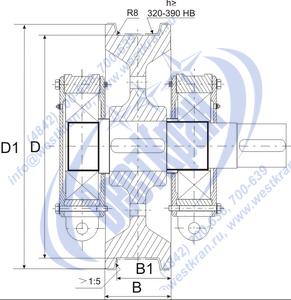 Колесо крановое двухребордное К2Р приводное в сборе чертеж