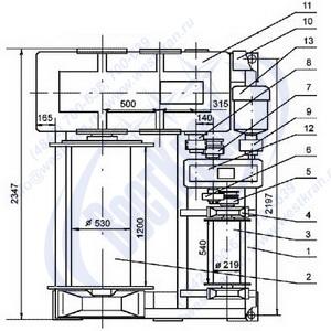 Лебедка ЛЭМ-10 габариты и схема