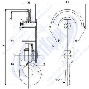 Чертеж крюковой подвески ПКК-1-3,2-336