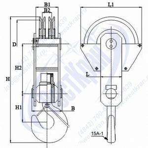 Чертеж крюковой подвески ПКК-2-8-406