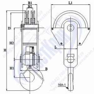 Чертеж крюковой подвески ПКК-2-8-610