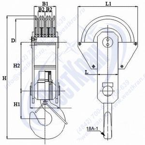 Чертеж крюковой подвески ПКК-3-12,5-610