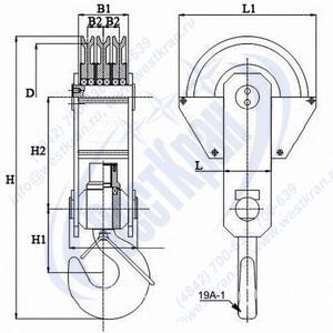 Чертеж крюковой подвески ПКК-3-16-500