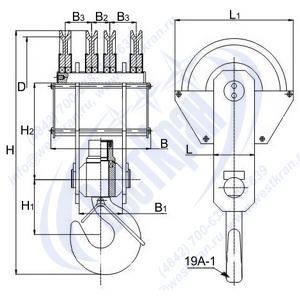 Чертеж крюковой подвески ПКК-4-16-610