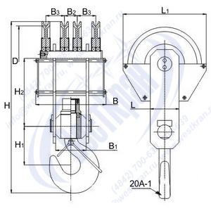 Чертеж крюковой подвески ПКК-4-20-500