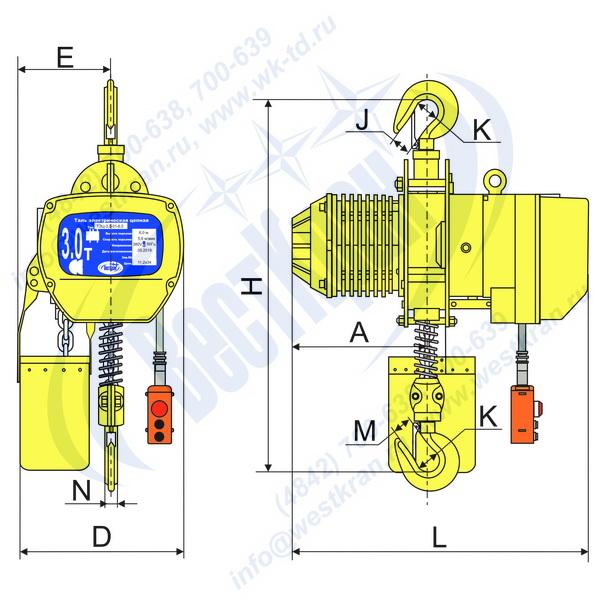 Чертеж тали электрической цепной стационарной DHS-A-3,0