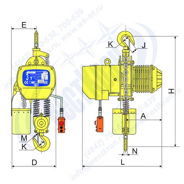 Чертеж тали электрической цепной стационарной DHS-A-3,0 02