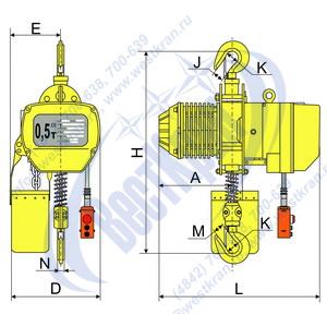 Чертеж тали электрической цепной стационарной DHS-A-0,5