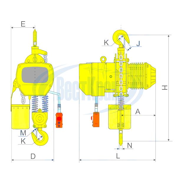 Чертеж тали электрической цепной стационарной ТЭЦс 02-5,0