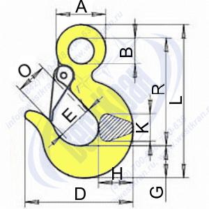 Крюк чалочный 320А чертеж