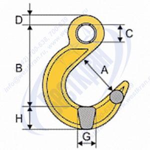 Крюк с широким зевом типа VAL чертеж