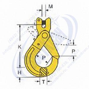 Крюк самозапирающийся с вилочным сопряжением VAKH чертеж